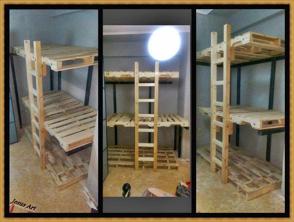 Letto a castello realizzato con pallet for Como hacer muebles para sala