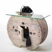 Tavolo con recupero di una bobina per cavi