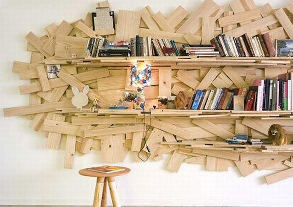 spesso Libreria con legno riciclato EE61